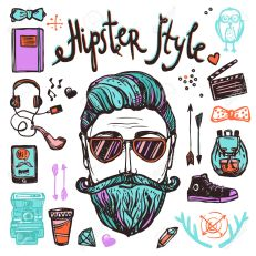 Hipster Cartoon Sketch Concept